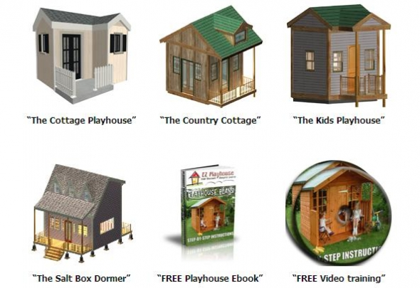 New playhouse plan package with 11 videos and ebook rv for Playhouse with garage plans